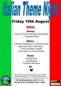 Italian Theme Night Aug 2016